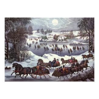 Navidad del vintage Central Park en invierno Anuncios Personalizados