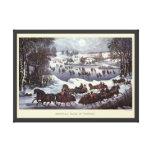 Navidad del vintage, Central Park en invierno Impresión En Lienzo Estirada