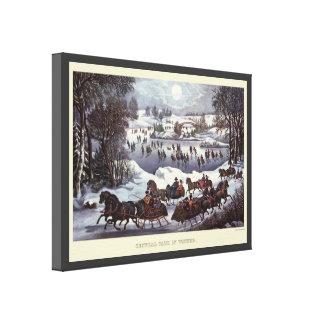 Navidad del vintage, Central Park en invierno Lona Envuelta Para Galerías