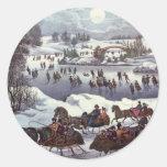 Navidad del vintage, Central Park en invierno Pegatina Redonda