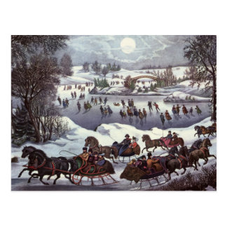 Navidad del vintage, Central Park en invierno Postales