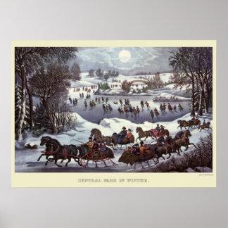 Navidad del vintage, Central Park en invierno Póster