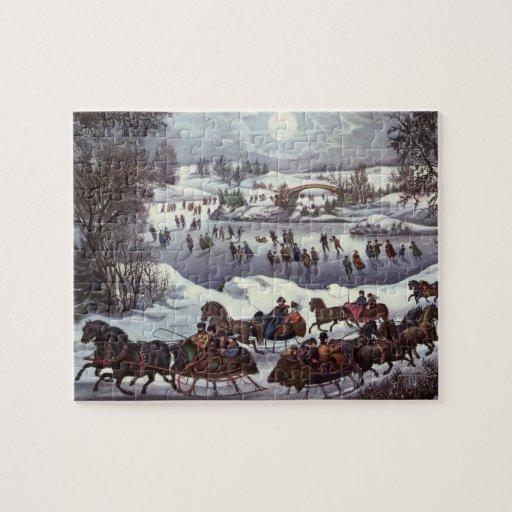 Navidad del vintage, Central Park en invierno Rompecabeza