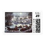 Navidad del vintage, Central Park en invierno Sellos
