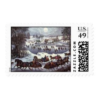 Navidad del vintage Central Park en invierno Sellos
