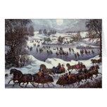 Navidad del vintage, Central Park en invierno Tarjeta De Felicitación