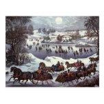 Navidad del vintage, Central Park en invierno Postal