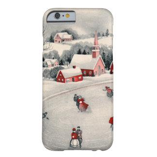 Navidad del vintage, charca congelada patinadores funda de iPhone 6 barely there