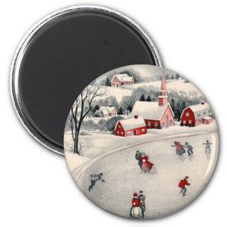 Navidad del vintage charca congelada patinadores imán
