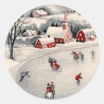 Navidad del vintage, charca congelada patinadores pegatinas redondas