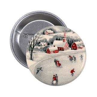 Navidad del vintage charca congelada patinadores pin