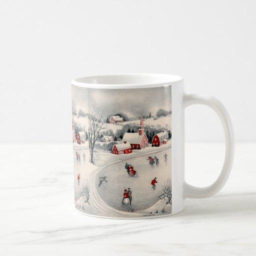 Navidad del vintage, charca congelada patinadores  taza de café