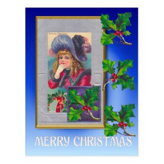 Navidad del vintage, chica de Edwardian con acebo Tarjeta Postal