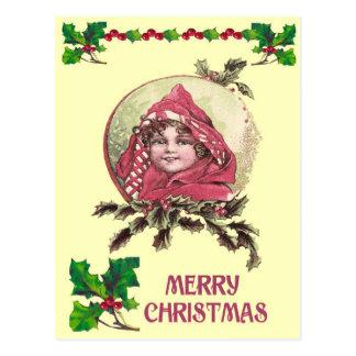 Navidad del vintage, chica de Edwardian en una cap Tarjetas Postales