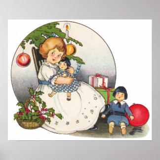 Navidad del vintage, chica feliz que juega con las póster