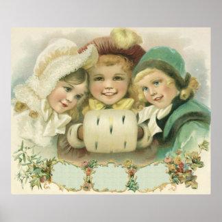 Navidad del vintage, chicas del Victorian, niños Impresiones