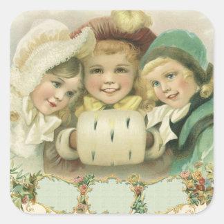 Navidad del vintage, chicas del Victorian, niños Pegatinas Cuadradas