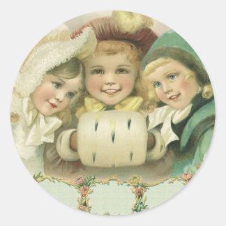 Navidad del vintage, chicas del Victorian, niños Pegatinas Redondas