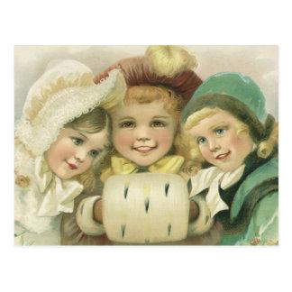 Navidad del vintage, chicas del Victorian, niños Tarjetas Postales