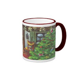 Navidad del vintage, chimenea acogedora de la taza a dos colores