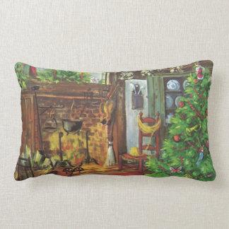 Navidad del vintage chimenea acogedora en sala de almohada