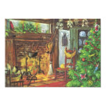Navidad del vintage, chimenea acogedora en sala de invitacion personal
