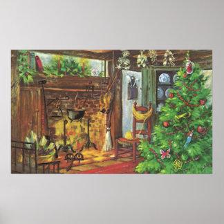 Navidad del vintage, chimenea acogedora en sala de impresiones