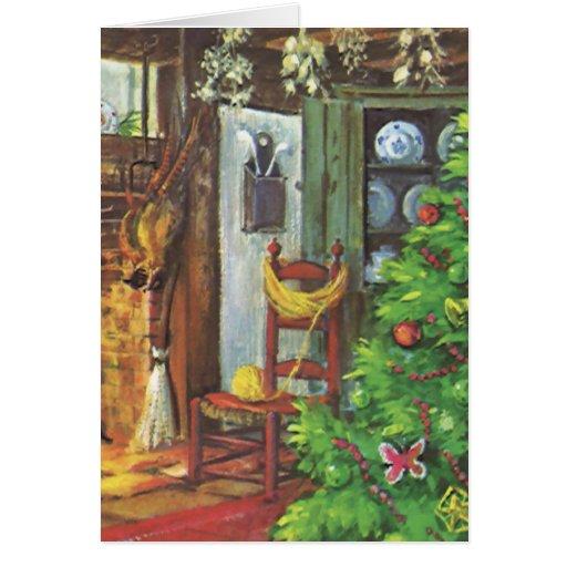 Navidad del vintage, chimenea acogedora en sala de tarjeton