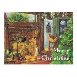 Navidad del vintage, chimenea acogedora en sala de tarjetas postales