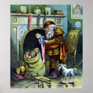Navidad del vintage, chimenea de las medias de posters
