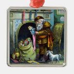 Navidad del vintage, chimenea de las medias de Pap Ornamento Para Reyes Magos