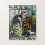 Navidad del vintage, chimenea de las medias de Pap Rompecabeza