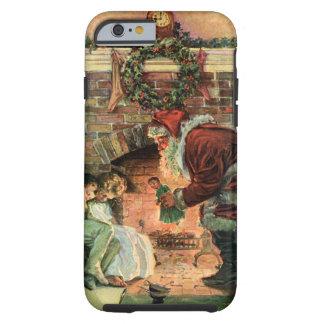 Navidad del vintage, chimenea de Papá Noel del Funda De iPhone 6 Tough