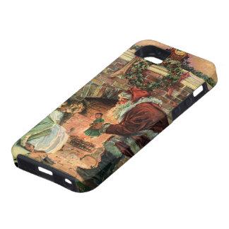 Navidad del vintage, chimenea de Papá Noel del iPhone 5 Case-Mate Cárcasa