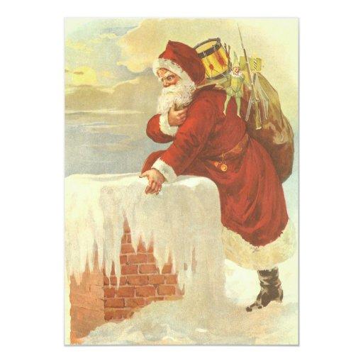 Navidad del vintage, chimenea de Papá Noel del Invitación 12,7 X 17,8 Cm