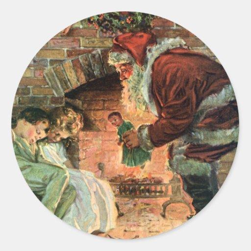 Navidad del vintage, chimenea de Papá Noel del Pegatina Redonda