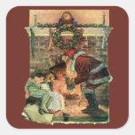 Navidad del vintage, chimenea de Papá Noel del Pegatina Cuadrada