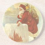 Navidad del vintage, chimenea de Papá Noel del Posavasos Manualidades