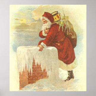 Navidad del vintage, chimenea de Papá Noel del Póster