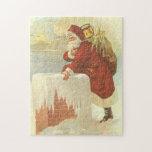 Navidad del vintage, chimenea de Papá Noel del Rompecabezas Con Fotos