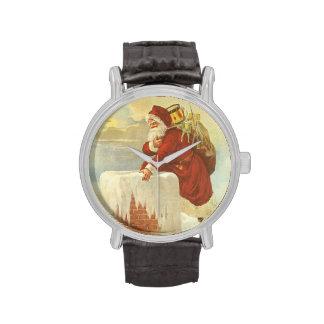 Navidad del vintage, chimenea de Papá Noel del Relojes De Pulsera