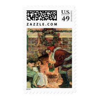 Navidad del vintage, chimenea de Papá Noel del Sellos