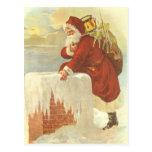 Navidad del vintage, chimenea de Papá Noel del Postal