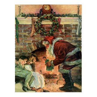 Navidad del vintage chimenea de Papá Noel del Vic