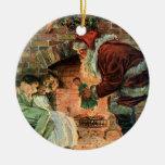 Navidad del vintage, chimenea de Papá Noel del Vic Adorno De Reyes
