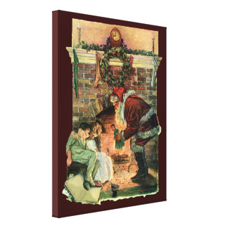 Navidad del vintage chimenea de Papá Noel del Vic Impresiones En Lona