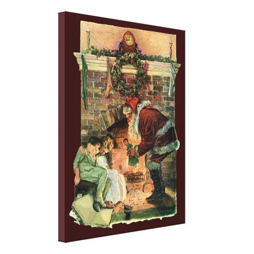 Navidad del vintage, chimenea de Papá Noel del Vic Impresiones En Lona