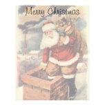 Navidad del vintage, chimenea de Papá Noel del Vic Membrete A Diseño