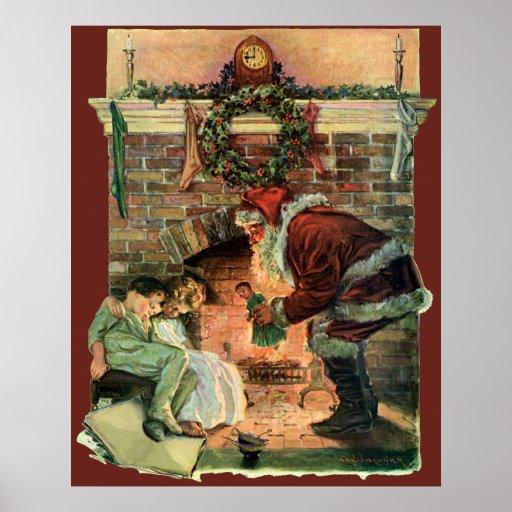 Navidad del vintage, chimenea de Papá Noel del Vic Posters