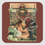 Navidad del vintage, chimenea de Papá Noel del Vic Pegatinas Cuadradases Personalizadas